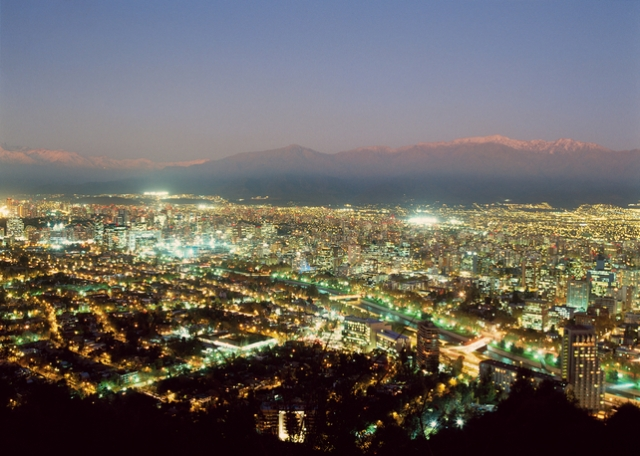 Santiago, Chile downtown night lights