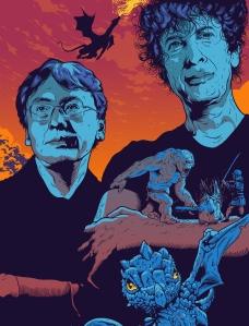 Kazuo Ishiguro and Neil Gaiman. Illustration: Tim McDonagh