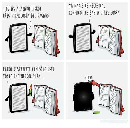 libro digital versus libro impreso caricatura